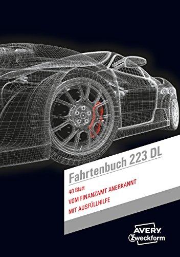 AVERY Zweckform 223DL Design Fahrtenbuch für PKW (vom Finanzamt anerkannt, A5, 80 Seiten insgesamt 858 Fahrten, für Deutschland und Österreich zur Abgrenzung privater/geschäftlicher Fahrten)