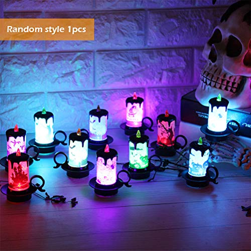 Halloween Kandelaar, Halloween-kaars met led-kaarsen, elektronisch kaarslicht voor thuis, open haard, eettafel, decoratie, incl. knoopcelbatterij
