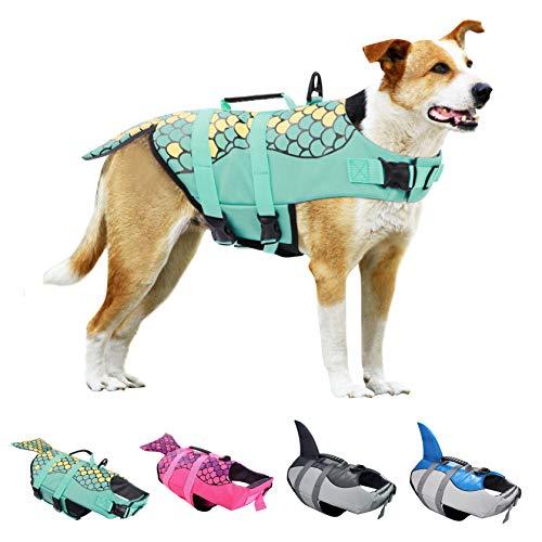 KOESON Dog Life Jacket, Ripstop Pet Life Vest Swimming Preserver, Adjustable Dog Floatation Life...