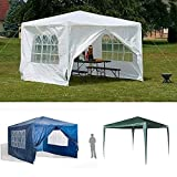 Gazebo with Sides 3M x 3M, Waterproof Gazebo Party Tent with Metal Frame, Water Sun Protection Outdoor Wedding Garden Party, Heavy Duty Tent Shelter, Green