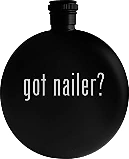 got nailer? - 5oz Round Alcohol Drinking Flask, Black