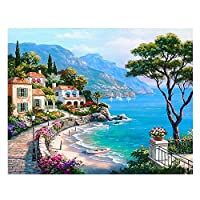 DFGAD Diamond Painting Landscape 5D Diy Full Drill Embroidery Seaside Town Mosaic Picture Of Rhinestone Home Decor