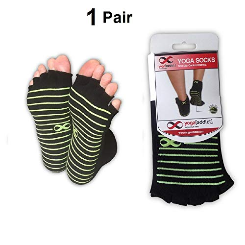 Yogaaddict Toeless calzini yoga, pilates, danza, sbarra, a mezze dita con manopole, 1 & 2 paia Value Pack set, antiscivolo antiscivolo, Black (Green Grippy Lines) - 1 Pair, M / L
