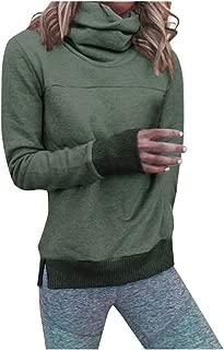 F_Gotal Sweatshirts for Women Long Sleeve High Neck Solid Color Split Hem Pullover Tops Outwear for Teen Girls
