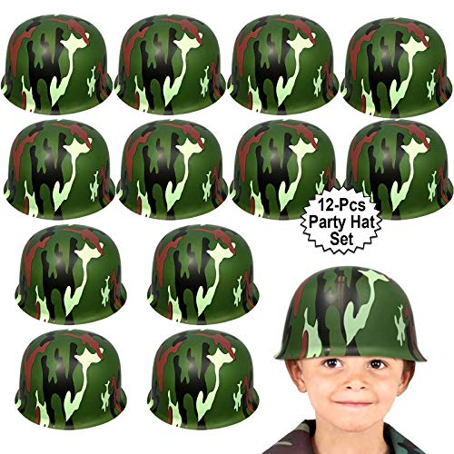 %35 OFF! Anapoliz Army Helmets for Kids | 12 Count Plastic Camouflage Hats | Soldier Helmet Party Fa...