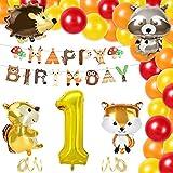 KATELUO Globo de Cumpleaños 1 Año, Globos Cumpleaños Niño 1 Año, Decoraciones Forestales, 1 Cumpleaños Niño, Globo Numero 1 Gigante, 1er Cumpleaños Niño, Decoración de Cumpleaños Niño 1 Año
