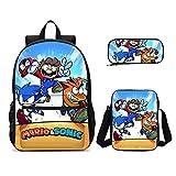 Super Mario Vs Sonic, Mochila para niños, Conjunto de Mochilas Escolares con Estampado para Adolescentes, niños, niñas, Mochila, Mochila Escolar