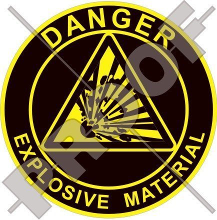 EXPLOSIVES MATERIAL Explosionsgefahr Warnung, Sicherheitszeichen 75mm Auto & Motorrad Aufkleber, Vinyl Sticker
