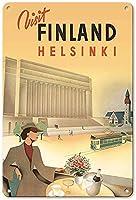 フィンランドをご覧くださいヘルシンキティンサインヴィンテージおかしい生き物鉄の絵メタルプレートパーソナリティノベルティ