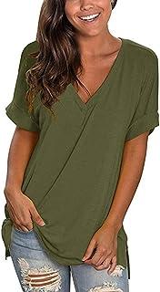 heekpek Blusas de Moda Verano Mujer Blusas y Camisas de Mujer Ropa Mujer Verano Tops Mujer Camisas OversizedColor Sólido V...