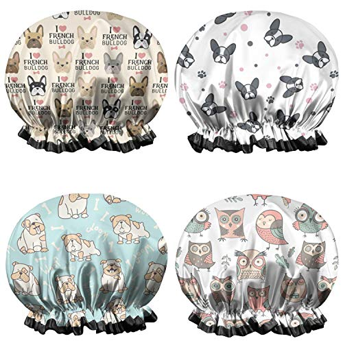 4-Pack Shower Caps for Women French Bulldog Head Vintage Beige Double Waterproof Layers Bathing Shower Cap Reusable Shower Caps