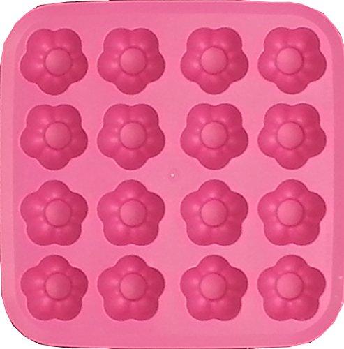 Bandeja de cubo de hielo de forma de flor de goma sintética - rosa