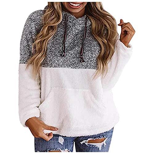 Womens Sweatshirt Warm Hoodie Vintage Outwear Casual Long Sleeve Printed Jacket(Grey,XL)