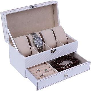 時計収納ボックス ウォッチジュエリーボックス2レイヤー4グリッドレザーウォッチ収納ディスプレイケース コレクションケース (色 : Black, Size : S)