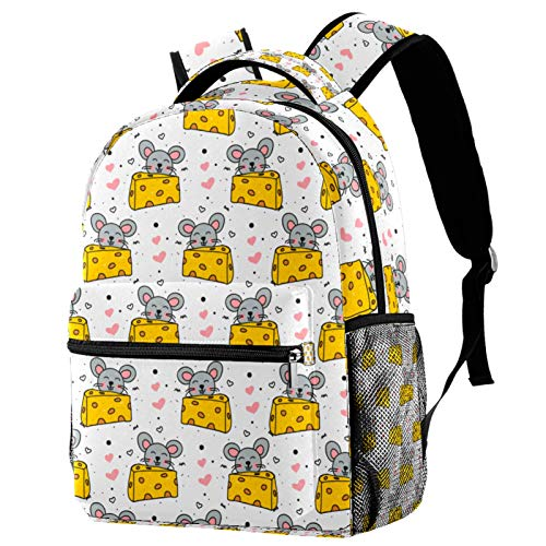 LAZEN Mochila clásica escolar Mochila de viaje ligera Mochila para portátil para mujeres adolescentes hombres Doodle Mouse y queso