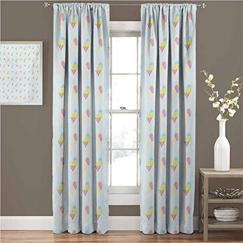 Fantastic Deal! June Gissing Ice Cream wrap Around Curtain Rod Pastel Colored Hipster Pattern with A...