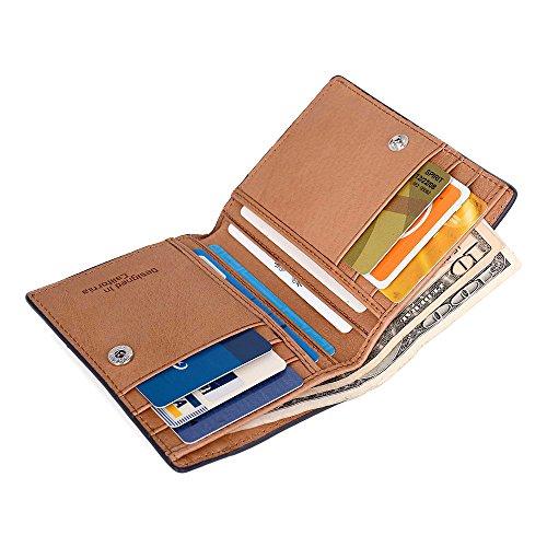 PREMIUM SKINNY Slim Bifold Leather Multi-Card Men Wallet Holder Best for Cash Money, ID, Credit Cards – Navy Blue