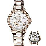 Relojes automáticos de esfera blanca para mujer, sin batería, relojes originales de moda para mujer, marca suiza, reloj de pulsera de cerámica para mujer, relojes de vestir de oro rosa