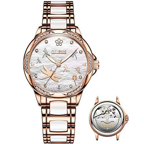 Relojes automáticos de esfera blanca para mujer, sin batería, relojes originales de moda para mujer, marca suiza, reloj de pulsera de cerámica para mujer, relojes de vestir de...