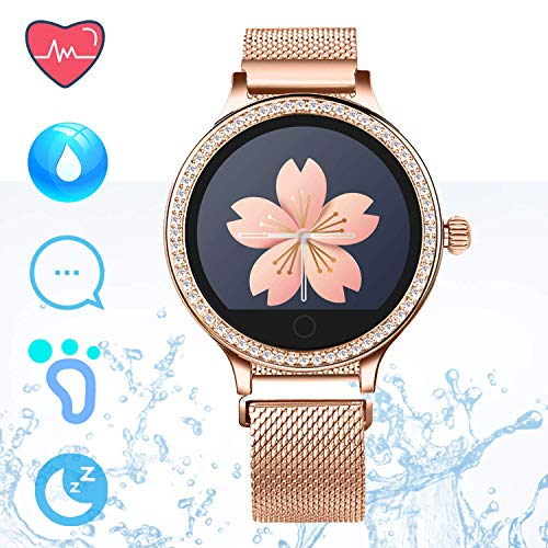 Fitness Tracker IP68 Smartwatch Android iOS – Smart Watch Telefono Bluetooth Pedometro Step Counter Smart Bracciale Sleep Monitor Calorie Counter per Donne Chiamare SMS Push