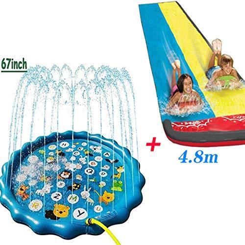 BWBG Tapete De Juegos De Agua+tobogan De Agua De Cesped, Splash Pad Play Mat Protección del Medio Ambiente PVC Chapoteo Almohadilla para Actividades Familiares Aire Libre Fiesta Playa Jardín