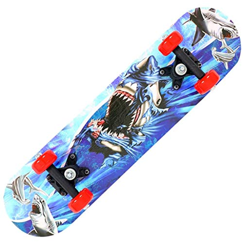 4-Rad-Skateboard Anfänger Kinder Beidseitige Cartoon Maple Longboard Shark Muster 60 * 15 * 10cm