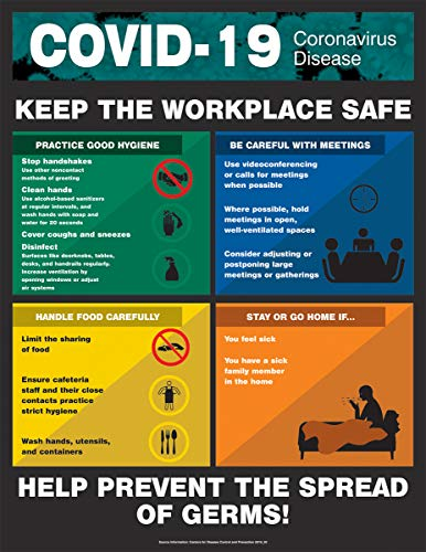 COVID-19 Safety Poster, Keep The Workplace Safe, Laminated, 28' x 22'