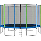 1000LBS trāmpolin for Kids Adults 16FT Outdoor trāmpolin with Enclosure, Wind Stakes, Spring Cover Padding and Ladder Max Capacity for 6-8 Kids Indoor Park Kindergarten Toddler trāmpolin(16FT)