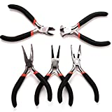 <span class='highlight'><span class='highlight'>LoveStory</span></span> 5Pcs Jeweler Pliers Tool Jewelry Making Tools Kit Set Round Needle Long Bent Daigonal Side Cutter End Cutting Nose Jaws Beading Cutting Joint Pliers