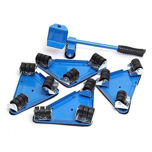 EsportsMJJ 5 STKS Meubilair Lifter beweegt Triple Wheels Mover Sliders Gereedschap Kit Meubilair Bewegend Systeem Blauw