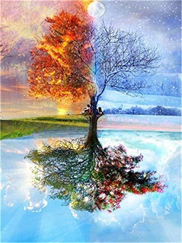 punto croce kit da ricamare,L'albero della vita nelle quattro stagioni,opera d'arte principianti mestieri,kit ricamo,tela per punto croce,Decorazioni la casa-40x50cm (Tela prestampata 11CT)