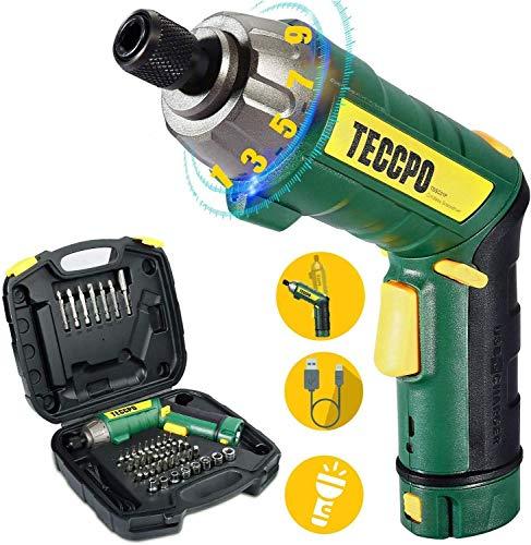 TECCPO-TDSC01P Akku-Schraubendreher, wiederaufladbar, MAX Torque 6N.m 2000 mAh Li-ion 3,6-Volt, 9 + 1 Paar Zahnräder, mit 45pcs Bits und LED-Licht, verstellbarer Griff, USB-TDSC01P