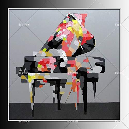 JXFFF 3D HD Printing Abstrakte Moderne Öl Klavier Ölgemälde Musik Wandkunst Dekoration auf Leinwand50x50cm Rahmenlos
