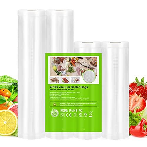 OMBAR Bolsa al vacío alimentaria 4 rollos, 20 cm x 6 m x 2, 28 cm x 6 m x 2, total 24 m, sin BPA, compatible con máquina al vacío, almacenamiento de alimentos para selladora