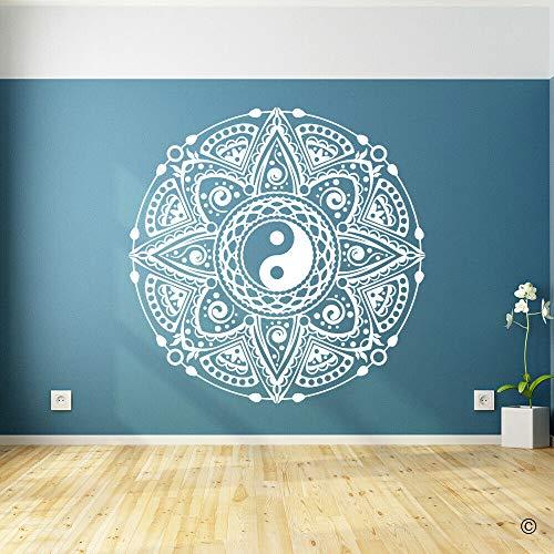 Yin Yang Mandala pegatinas de pared habitación patrón creativo calcomanías de pared pegatinas de decoración de sala de estar familiar A8 42x42cm