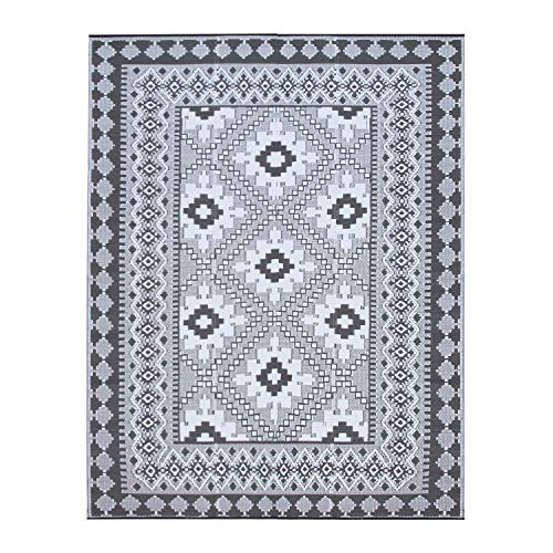 Santextile TT001 Reversible Outdoor/Indoor Plastic Rugs,Easy to Clean,Mildew, UV, Stain and Water Resistant(Grey,8x10)