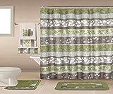 Daniel's Bath & Beyond 18 Piece Shower Curtain Set Rochelle Bath, Green