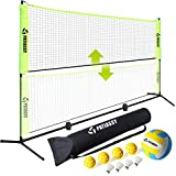 Patiassy Portable Badminton Net Set Adjustable Height Sports Net for Pickleball, Kids Volleyball with 4 Shuttlecocks, 4 Pickleballs and Volleyball for Indoor Outdoor Court, Backyard, Beach, 17ft