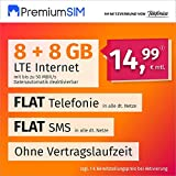 PremiumSIM Teléfono móvil LTE XL – sin Tiempo de Contrato, (Flat Internet 16 GB LTE con máx. 50 MBit/s con Datos automáticos desactivables, telefonía Flat, SMS y UE, 14,99 Euros/Mes)