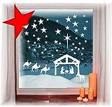 das-label Wiederverwendbare winterliche Fensterbilder weiß | Jesuskrippe mit Sterne | Weihnachten | Fensterdeko | konturgetanzt ohne transparenten Hintergrund (Jesuskrippe mit Sterne)