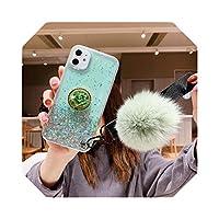 ダイヤモンドホルダースタンドグリッターストラップソフトシリコンTPU電話ケースカバーFor iPhone6 6s 7 8 Plus 10 11 Pro X XS XR Max SE Coque-Green-For iPhone X