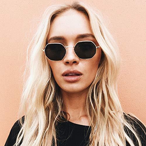 Secuos Moda Gafas De Sol Hexagonales para Mujer, Diseñador De Marca A La Moda, Sin Montura, Lentes Transparentes para El Océano, Gafas De Sol De Metal para Mujer, Uv400, Amarillo Dorado