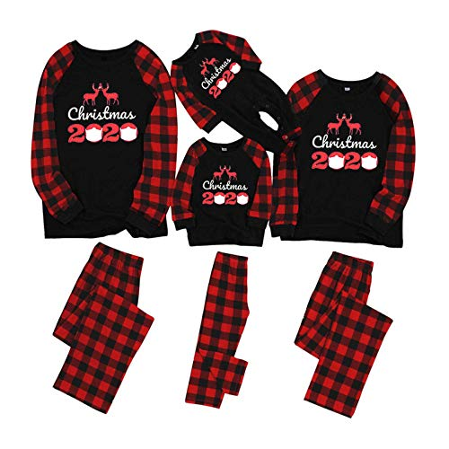 Matching Family Pajamas Sets Christmas PJ's with Letter and Red Plaid Printed Long Sleeve Tee and Pants Outfits