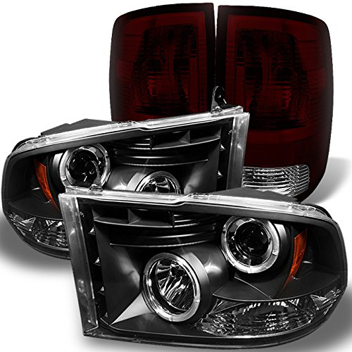 For Dodge Ram 2009-2018 1500 | 10-18 2500/3500 Black Halo Projector LED Headlights + Dark Red Smoked Tail Light Combo