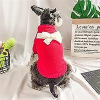 LDGS&TTW ペット服の子犬ソリッドカラーボウノットセーターかわいいセーター秋と冬のTシャツ子犬衣装 (Color : RED, Size : S)