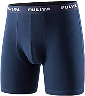 Fuliya Men's Boxer Shorts Cotton Trunks Soft Breathable Mens Underwear Boxer Briefs