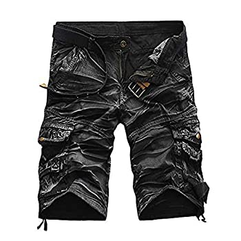Summer Men Shorts Cargo Camo Slim Fit Lightweight Work Outdoor Beach Casual Shorts Pants with Pocket  34 Gray