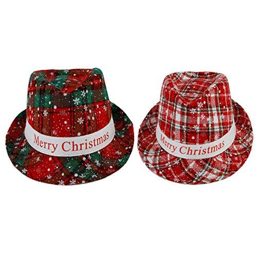 2-TLG. Set Hut Merry Christmas Kopfschmuck Weihnachtshut Street Style London Kopfbedeckung Damenhut Herrenhut Weihnachten Merry Christmas
