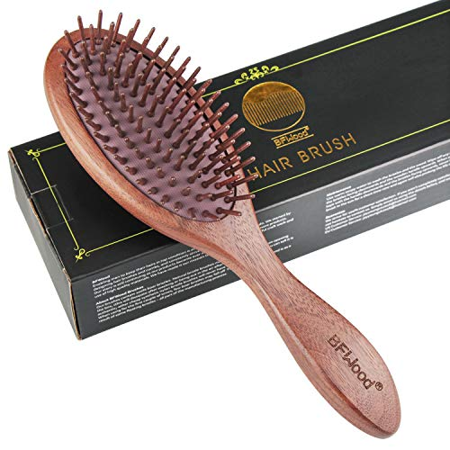 BFWood Wooden Paddle Hair Brush – Black Walnut Hairbrush for Reducing Frizz and Breakage