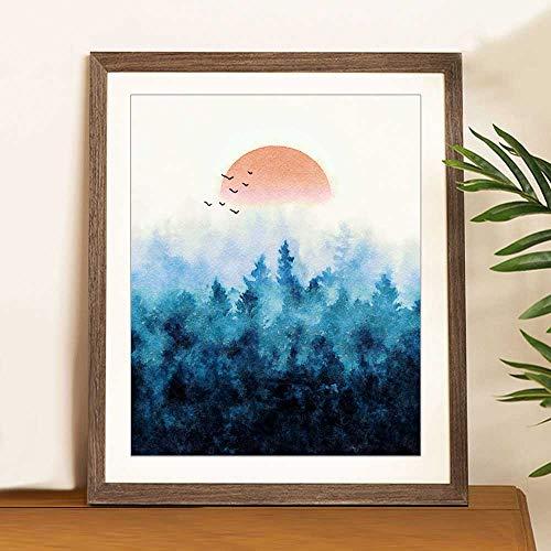 Misty Forest Art, Blue Watercolor Painting, Forest Print, Nature Print, Landscape Art, Wall Art, Sunset Decor,Living Room Decor, UNFRAMED 8x10inch